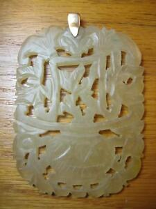 Large Antique Vtg Carved Jade Pendant Plate 14k Gold Hetian Celadon Nephrite
