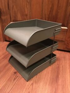 Vintage Mid Century 3 tier Globe Wernicke Metal Stacking Desk File Trays In box