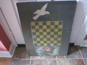 Antique Bread Board With Checkerboard On One Side Roses Dove Mustard Paint