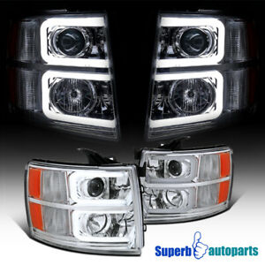 07 14 Chevy Silverado Led Drl Projector Headlights Front Head Lamps Chrome Pair