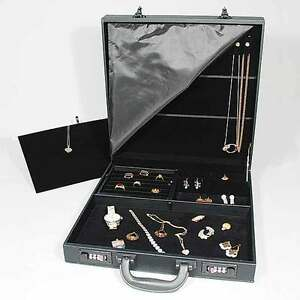 Black Jewelry Attache Carrying Case W Combo Lock 14 7 8 X 14 7 8 X 3 1 2 h