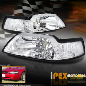 For All 1999 2004 Ford Mustang Gt Cobra V6 New Chrome Headlights Headlamps