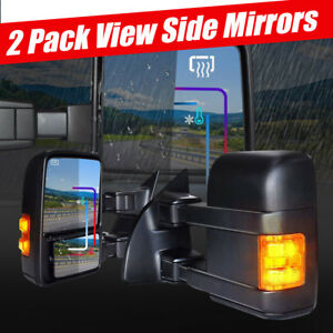 For 99 07 Ford F250 f550 Power Heated Amber Signal Side Mirrors Manual Extension