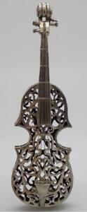 51g 1 8oz Vintage Solid Silver Italian Made Large Violin Miniature Stamped