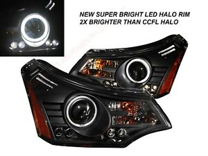 Set Of Black Projector Headlights W Led Halo Rims For 2008 2011 Ford Focus