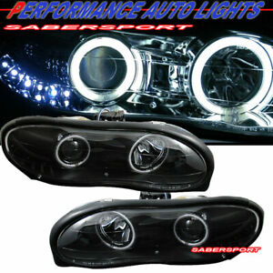 Pair Black Projector Headlights W Dual Halo Rim For 1998 2002 Chevrolet Camaro