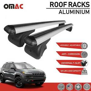 Roof Rack Cross Bars Lockable Luggage Carrier Silver For Jeep Cherokee 2014 2019