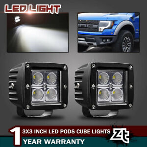 2x 3inch 24w Led Work Light Pods Flood Off Road Square Lawn Mower Atv 3x3 Truck