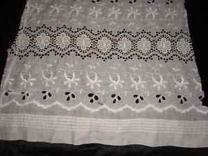 Antique Vtg Lace French Fragment Fabric Eyelet Edwardian Sewing Doll Clothes