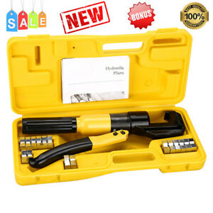 10 Ton Hydraulic Crimper Plier Battery Terminal Cable Crimping Tool 8 Dies Case