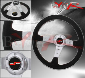 350mm Suede Black Leather Red Stitching Chrome Steering Wheel God Snow Button