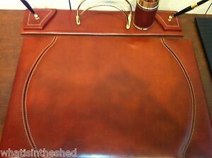Nwt Cognac Desk Pad 20 X 14 Set 4 Piece Made In Italy Retail 495 00