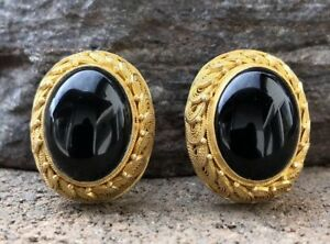 Antique Old Chinese Gilt Gold Silver Black Onyx Filigree Floral Clip Earrings