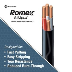 Romex Wire By Southwire 100 6 3 Plus Ground Nm b Priority Shipping Included