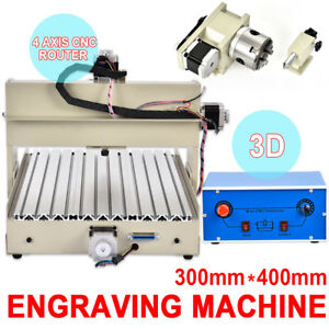 3040 Cnc Router 4 Axis Engraver Engraving Machine 400w Spindle Motor 3d Mill