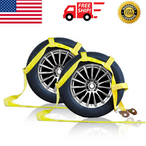 Two 2x Demco Car Basket Straps Adjustable Tow Dolly Wheel Net Tire Snap Hooks