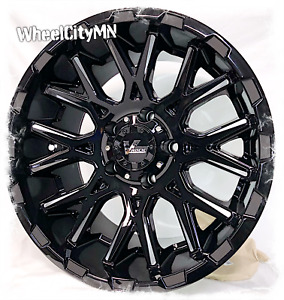 17 X9 5 Gloss Black Milled Vrock Vr10 Fits Lifted Jeep Wrangler 5x127 5x Rims