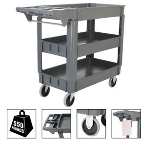 Plastic Utility Service Cart 550 Lbs Capacity 3 Layers 360 swiveling 40 x17 x33