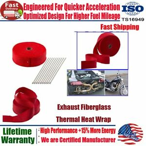 2 50ft Roll Fiberglass Exhaust Header Pipe Heat Wrap Tape Titanium W 10ties Kit