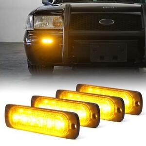 Xprite 4pcs Side Marker 6 Led Strobe Light Emergency Warning 12v Yellow amber