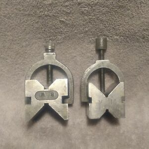 Two Vintage Unbranded Machinist V Blocks With Clamps