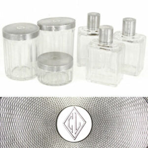 6pc French Sterling Silver Cut Crystal Perfume Bottles Vanity Jars Dresser Set