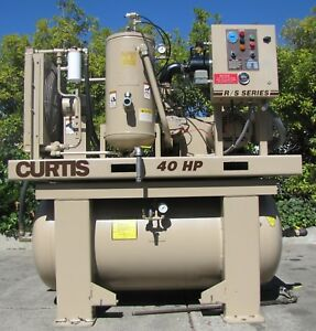 Curtis 40hp Rotary Screw Air Compressor 200 Gallon Tank Only 30 803 Hours 230v