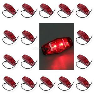16pcs Led Light Diode Red Universal Surface Mount Clearance Side Marker Trailer