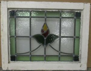 Old English Leaded Stained Glass Window Pretty Bordered Floral Sweep 21 X 16 5