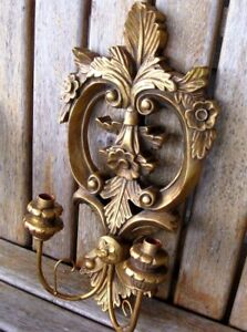 19 Antique Italy Wood Gesso Shabby Wall Sconce Candle Holder Vintage French