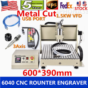 Usb 1500w Vfd 6040 Cnc Router Engraver Milling 3d Metal Cutter 3 Axis controller