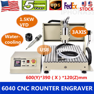 Usb 1500w Vfd 6040 Cnc Router 3 Axis 3d Engraver Cutter Metal Engraving Machine