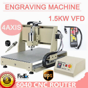 4 Axis 6040t Cnc Router Engraver Metal Milling Ball Screws 1 5kw Vfd cont