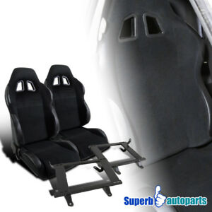 99 04 Ford Mustang Black Cloth Pvc Leather Reclinable Racing Seats Pair Brackets