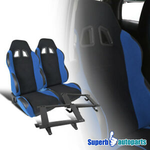 79 98 Ford Mustang Yale Blue black Cloth Reclinable Racing Seats steel Brackets