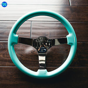 Viilante 3 Deep Dish 6 hole Steering Wheel Tiffany Mint Chrome Spoke Fits Nrg