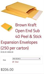 Brown Kraft Sub 40 9x12x3 Open End Envelopes Regular Gum Qty 250