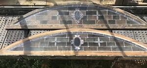 Pair Of Large Antique Stained Glass Windows Arched Top 89 Each