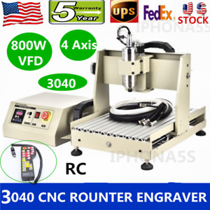 4 Axis Cnc Router Engraver 3040 Desktop Engraving Machine 800w Vfd controller