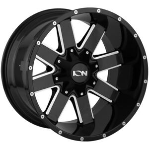 4 new 17 Inch Ion 141 17x9 8x165 1 8x6 5 8x170 12mm Black milled Wheels Rims