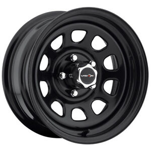 4 Vision 84 D Window 15x7 5x4 75 6mm Gloss Black Wheels Rims With Caps