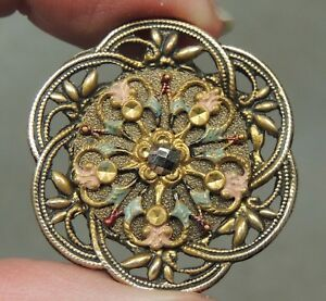 Antique Brass Openwork Button W Painted Design Metal