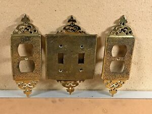 Vintage Brass Outlet Covers Light Switch Cover Matching Set