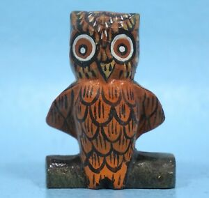 2 Vintage Swiss Black Forest Wood Carving Owl On Log Hand Painted Brienz