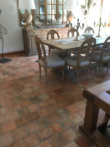 French Antique Reclaimed Terra Cotta Flooring Tiles 1700s 22cm 8 5 8