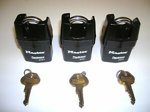 3 Master 6321ka High Security Shrouded Shackle Padlocks For Storage trucks