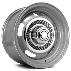 4 vision Rally 55 15x7 5x4 75 6mm Dark Silver Wheels Rims With Caps
