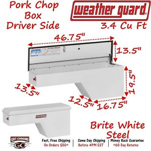 162 3 01 Weather Guard White Steel Pork Chop Box Truck Toolbox Driver Side