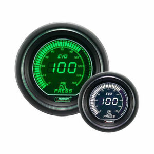 Prosport Oil Pressure Gauge Evo Series Green And White Digital 52mm 2 1 16