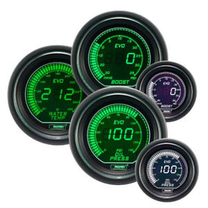 Prosport 52mm Turbo Oil Pressure Water Temperature Gauge Set Green